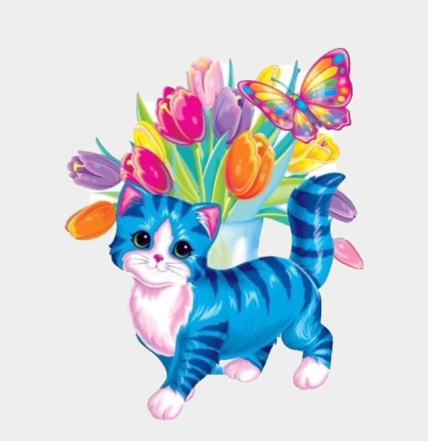 vintage cat clipart, Cartoons - #cat #tulips #lisafrank #sticker #vintage #childhood - Lisa Frank Clip Art