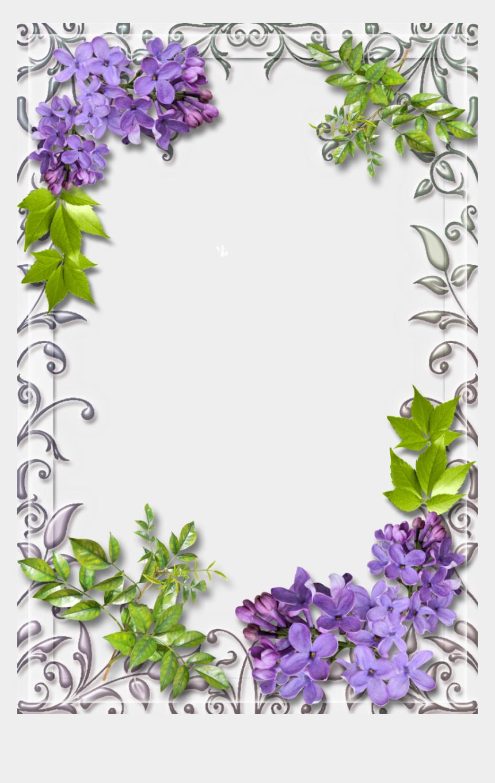 clipart rahmen blumen, Cartoons - Purple And Green Flower Border