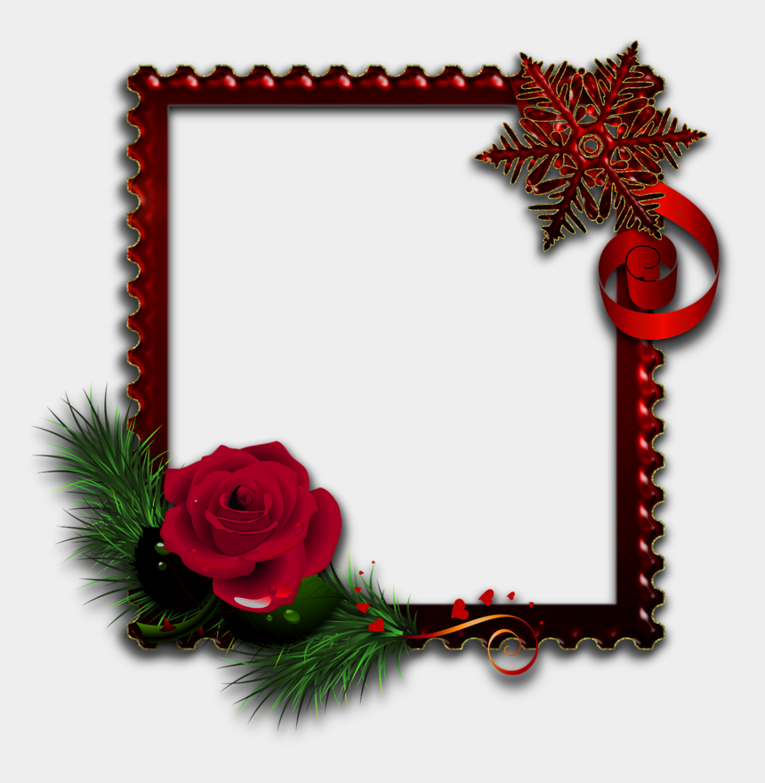 cliparts weihnachtsmotive, Cartoons - Red Photo Frame With Rose Red Photo Frames, Picture - Rose Photo Frame Downloading