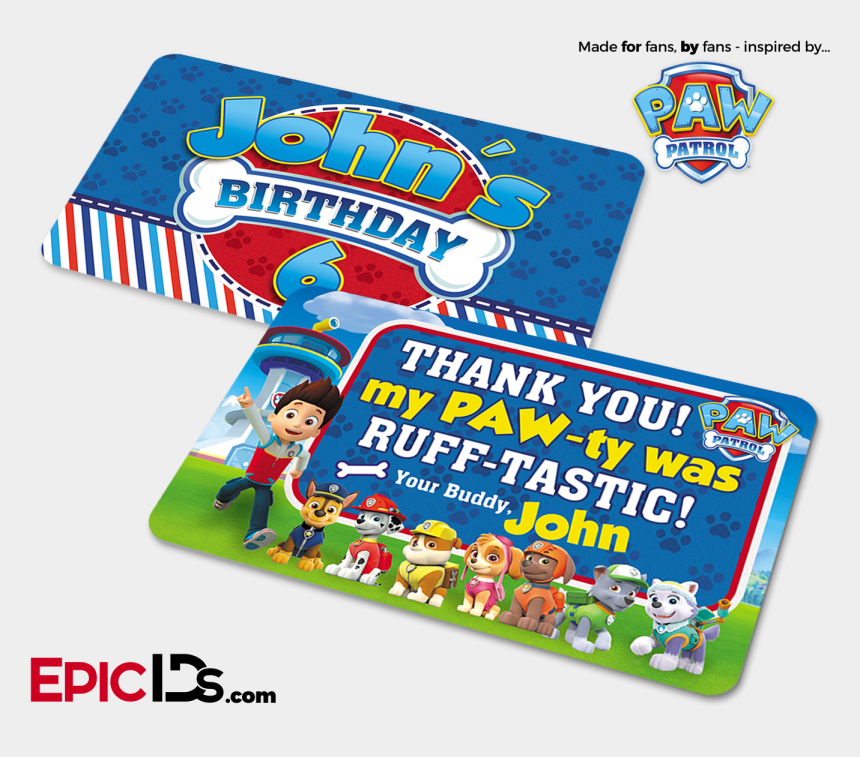paw patrol birthday clipart, Cartoons - Paw Patrol Inspired Birthday Party 'party Favor' Cards - Paw Patrol Chase Card