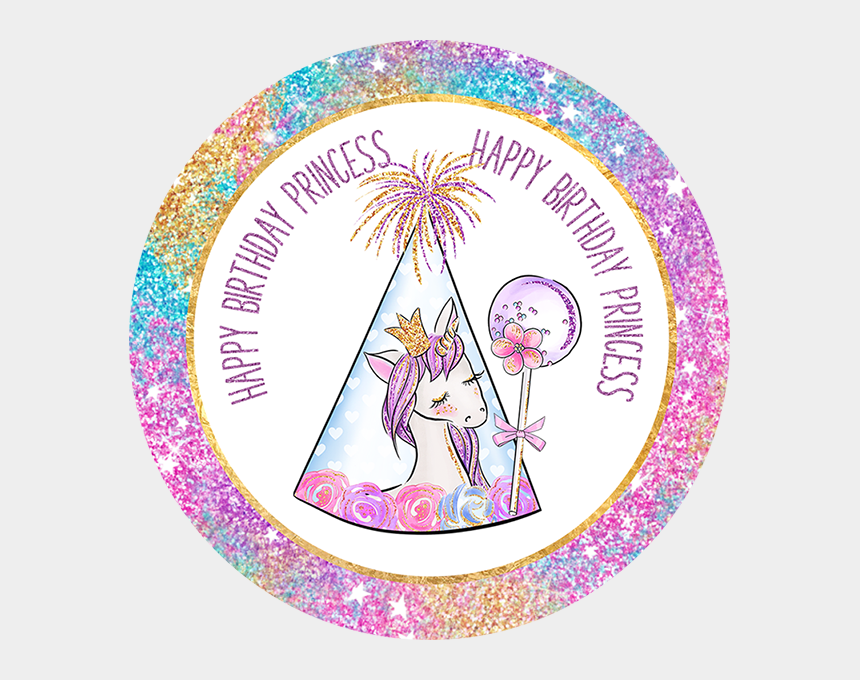 cliparts zum geburtstag, Cartoons - Happy Birthday Little Princess Unicorn Party Printable - Circle