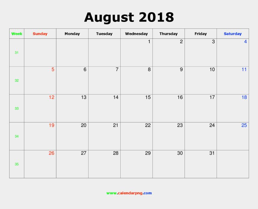 august calendar clipart, Cartoons - 2018 Calendar Png - February 2019 Calendar Portrait