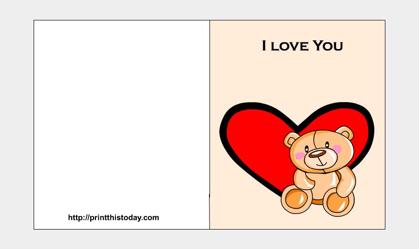 teddy bear with heart clipart, Cartoons - Love You Card Printable With Cute Teddy Bear And Heart - Teddy Bear
