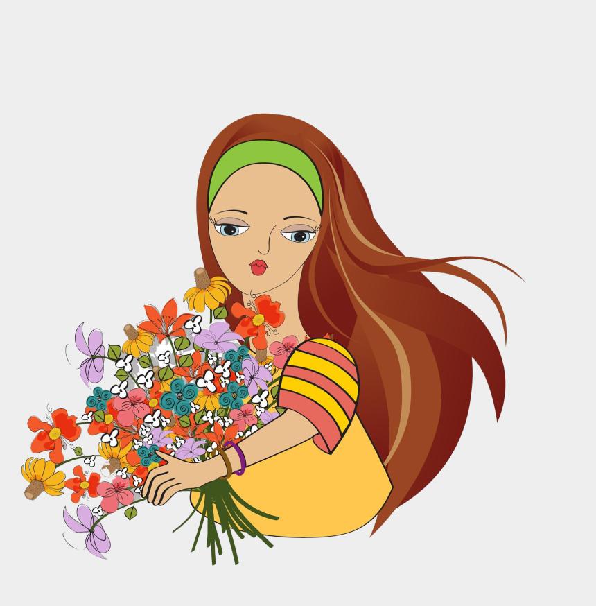 photographer clipart, Cartoons - Cartoon Flower Stock Photography Clip Art Holding Ⓒ - Woman Flowers Clipart Png