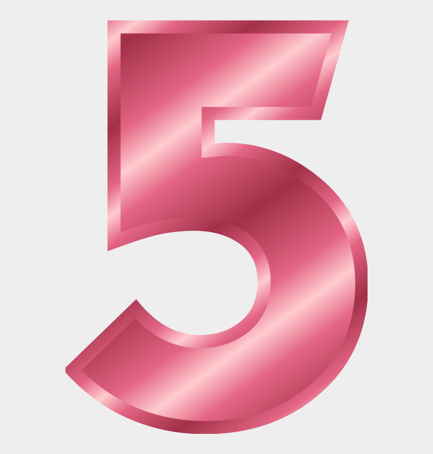 number 1 clipart, Cartoons - Five Clipart Gold Number - Pink Number 5 Png