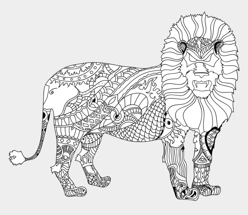lion clipart black and white, Cartoons - Lion Tiger Black And White Line Art Drawing - Circus Clipart Black And White Line Art