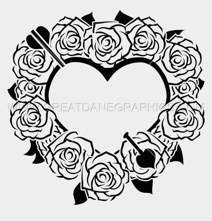 rose clipart black and white, Cartoons - Valentine Heart & Roses - Clip Art Black And White Valentine Hearts