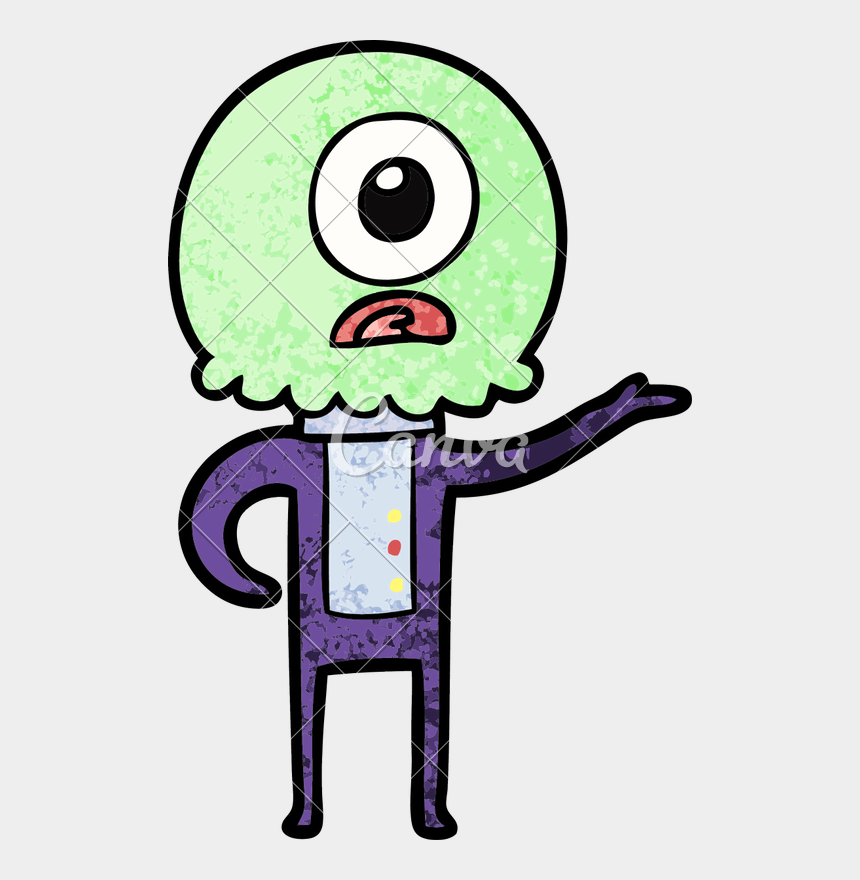 alien clipart free, Cartoons - Cartoon Cyclops Alien Spaceman Explaining - Drawing