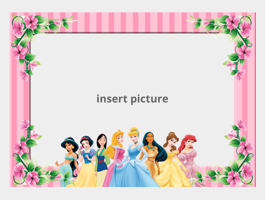 free printable disney princess clipart, Cartoons - Princess Frame Png - Disney Princess Birthday Thank You Cards