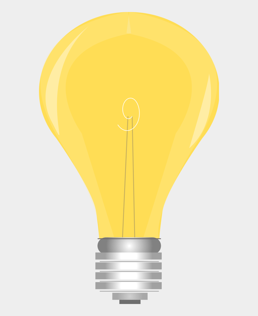 clipart led, Cartoons - Yellow Light Bulb Switched On - Light Bulb Clip Art