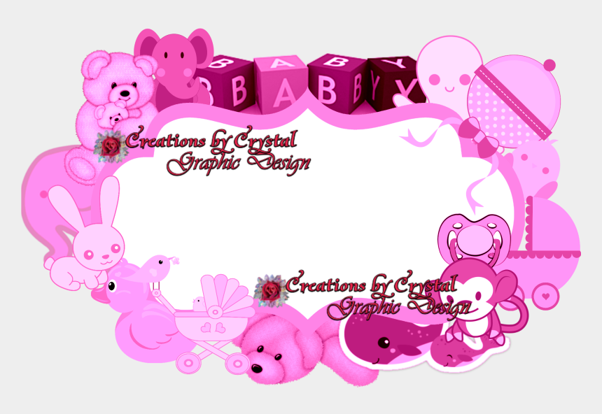 baby girl border clipart, Cartoons - Cbycgraphicdesign Custom Borders Baby Birth Announcements, - Baby Border Design Pink