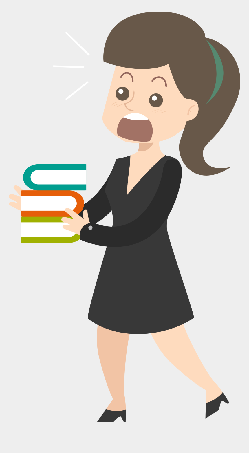 office girl clipart, Cartoons - A Woman With Books Transprent Png Free Ⓒ - Mulher Com Livros Png