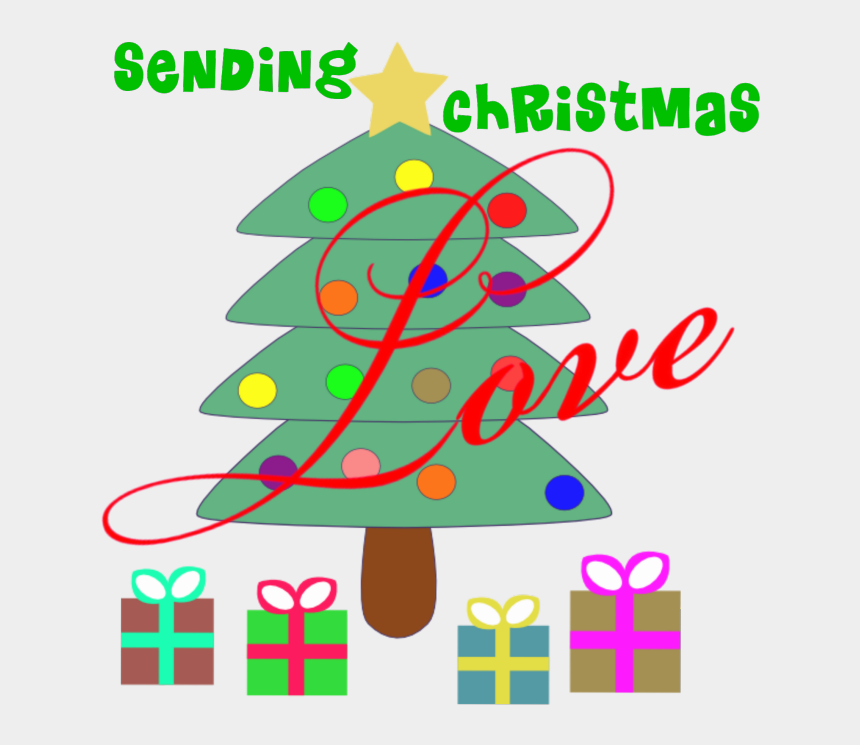 """how to create digital clipart, Cartoons - """"sending Christmas Love"""" Word-art Freebie By Deb Chitwood - Cute Christmas Tree With Presents"""