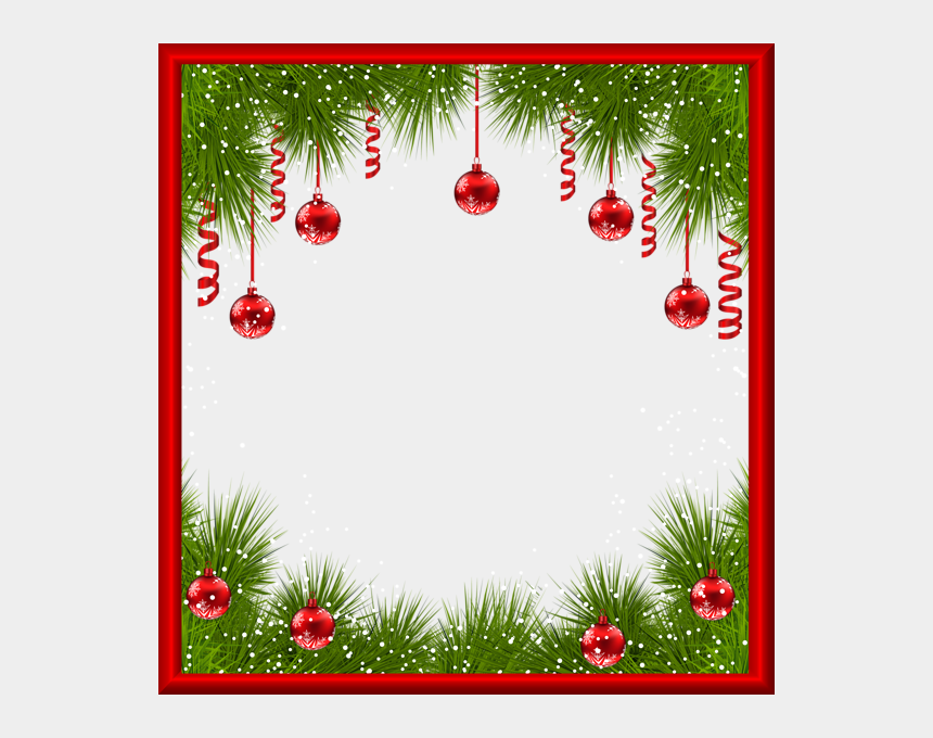 holiday decorations clipart, Cartoons - Christmas Png Transparent Frame With Red Ornaments - Transparent Background Christmas Png