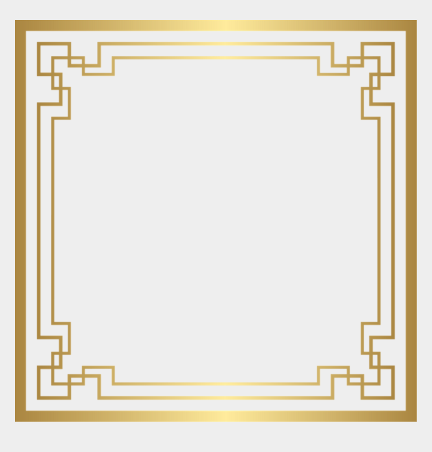 square clipart png, Cartoons - Art Deco Frame Gold