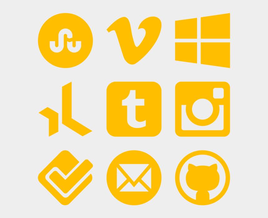 social media clipart png, Cartoons - Yellow Social Media Icons