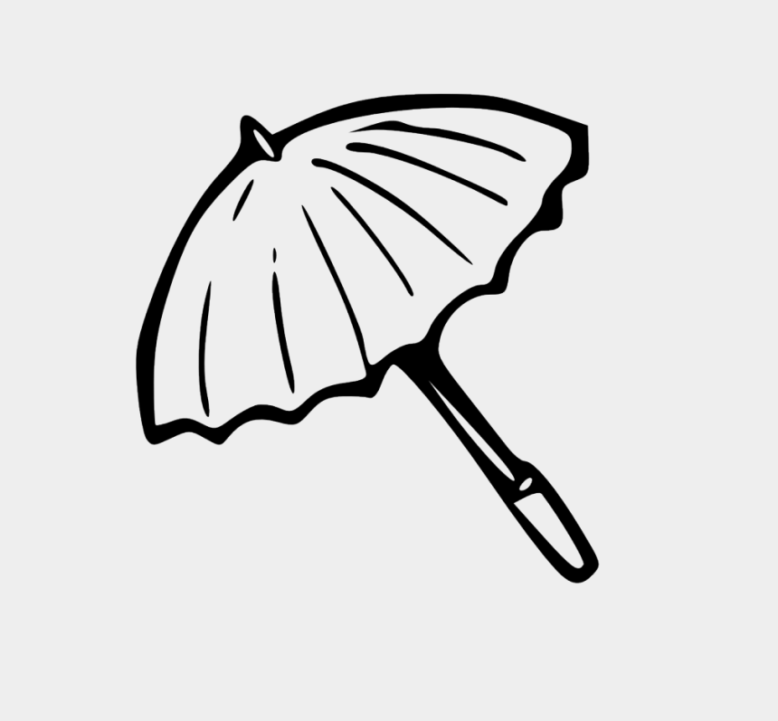 book clipart black and white, Cartoons - Umbrella Outline Black White Line Art Coloring Book - Line Art Of Umbrella