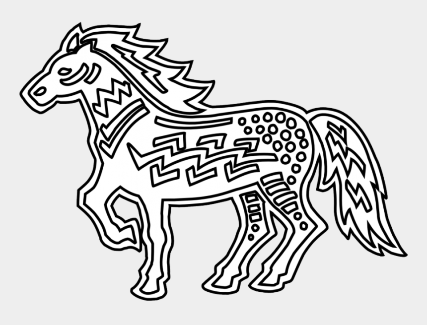 book clipart black and white, Cartoons - Coloring Book Clipart Doodle Art Coloring Pages - Black And White Indian Horse Clipart