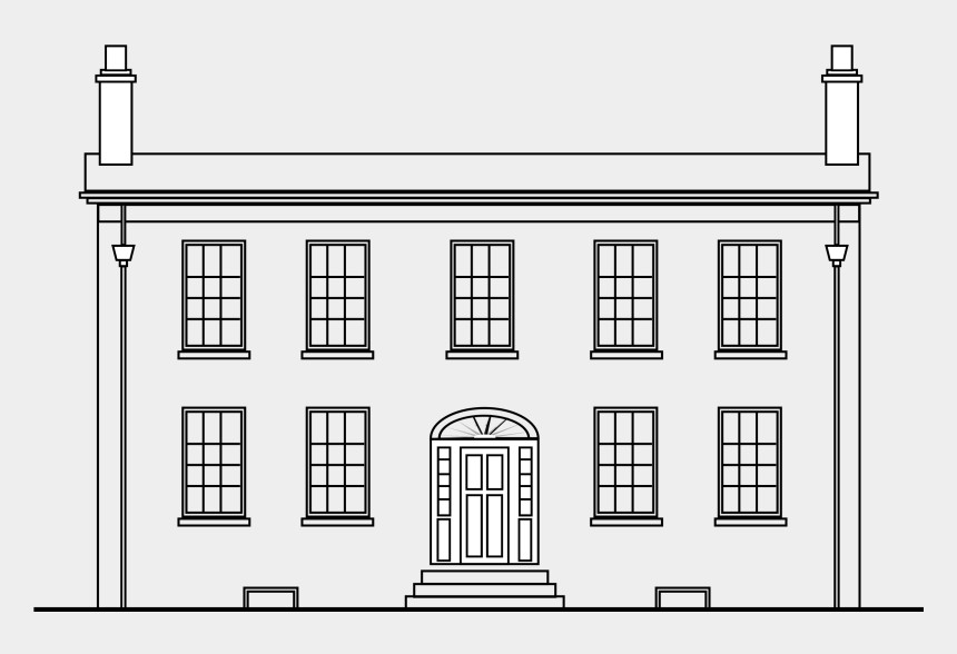 house clipart black and white, Cartoons - Georgian House Clip Freeuse Stock - Georgian House Clipart