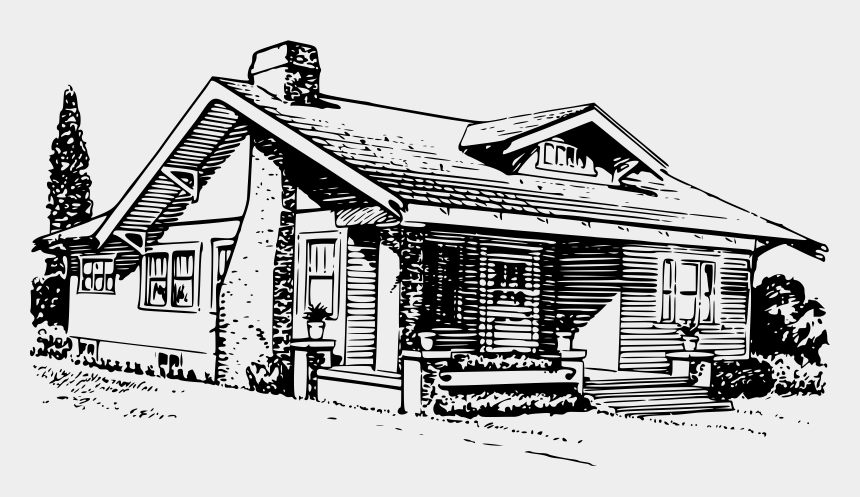 White House Clipart Bungalow Black And