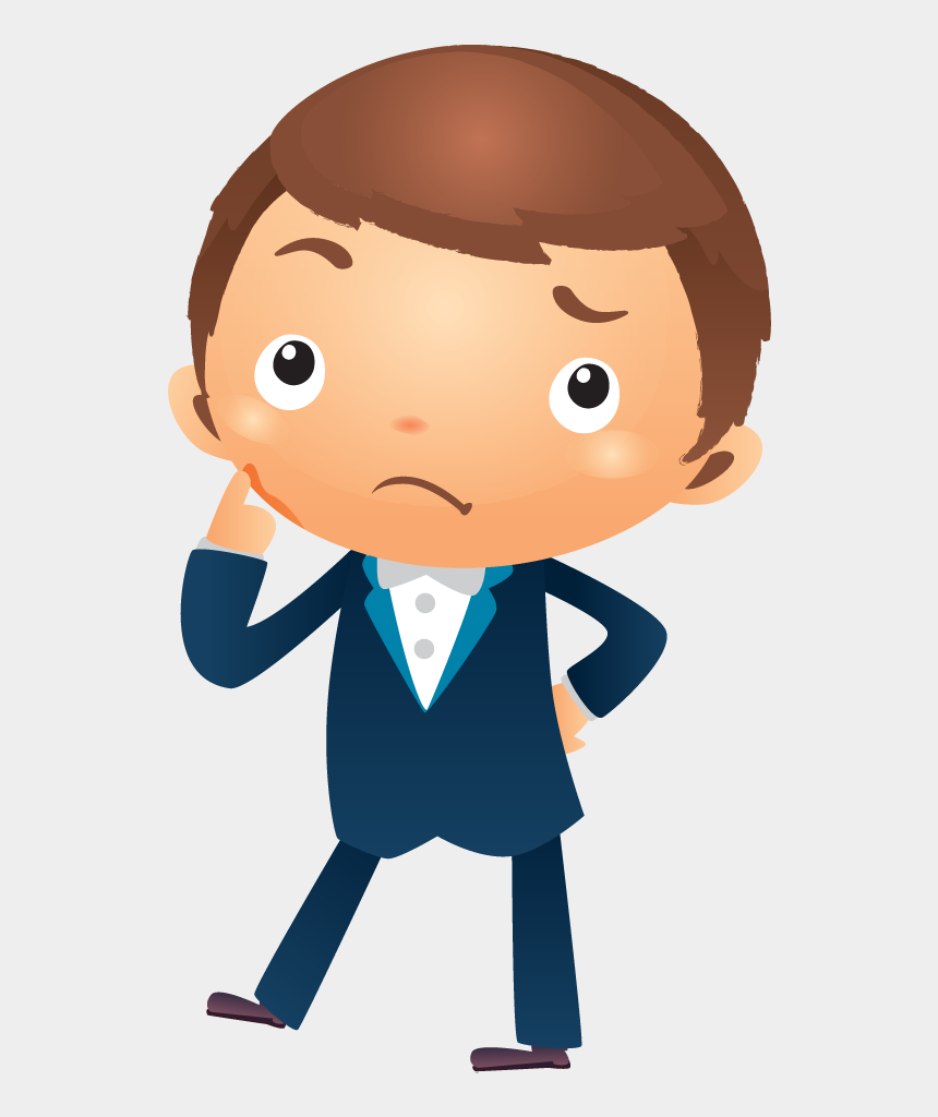 businessman clipart, Cartoons - Cartoon Businessman Thinking With Hand Pointing Near - Person Thinking Cartoon Png