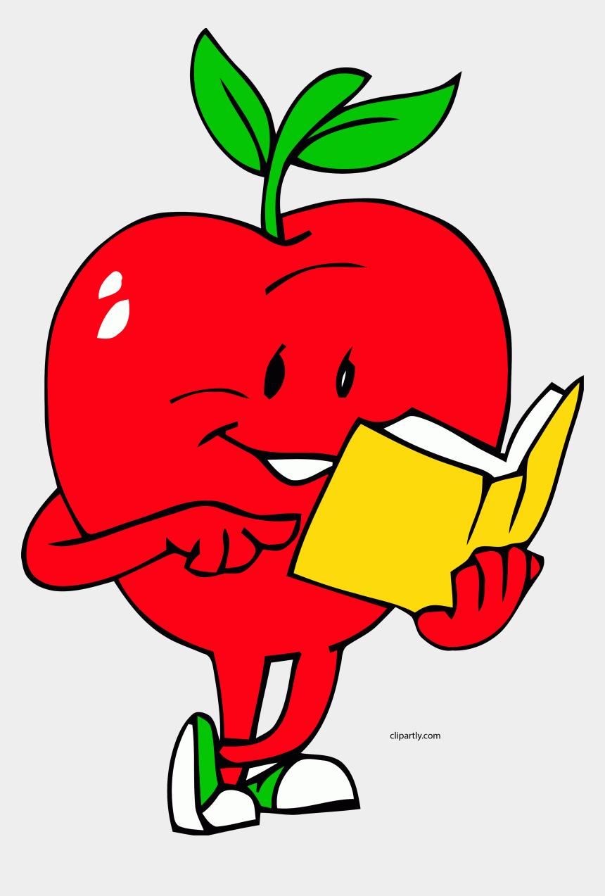 reading book clipart, Cartoons - Apple Reading Book Clipart Png - Gif Animados De Frutas