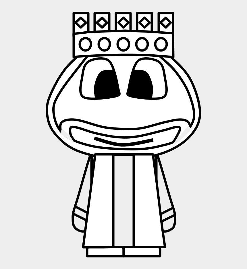 King Crown Big Eyes Cartoon Person Black And White