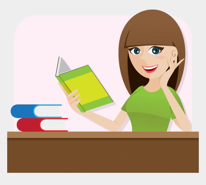 reading book clipart, Cartoons - Cartoon Smart Girl Reading Book On Table - Girl Reading Book Cartoon