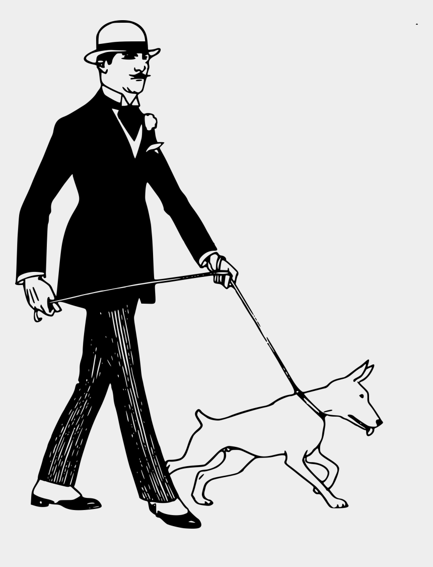 old man clipart, Cartoons - Man Walking A Dog Clipart - Dog And Man Clipart