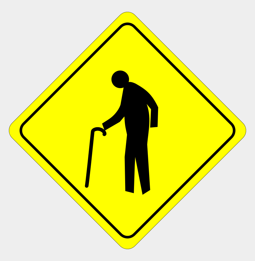 old man clipart, Cartoons - Traffic Sign Warning Age - Old Person Crossing Sign