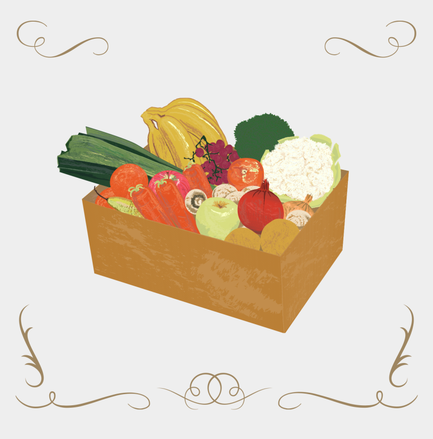 fruits and vegetables clipart, Cartoons - Medium Fruit & Veg Box - Illustration