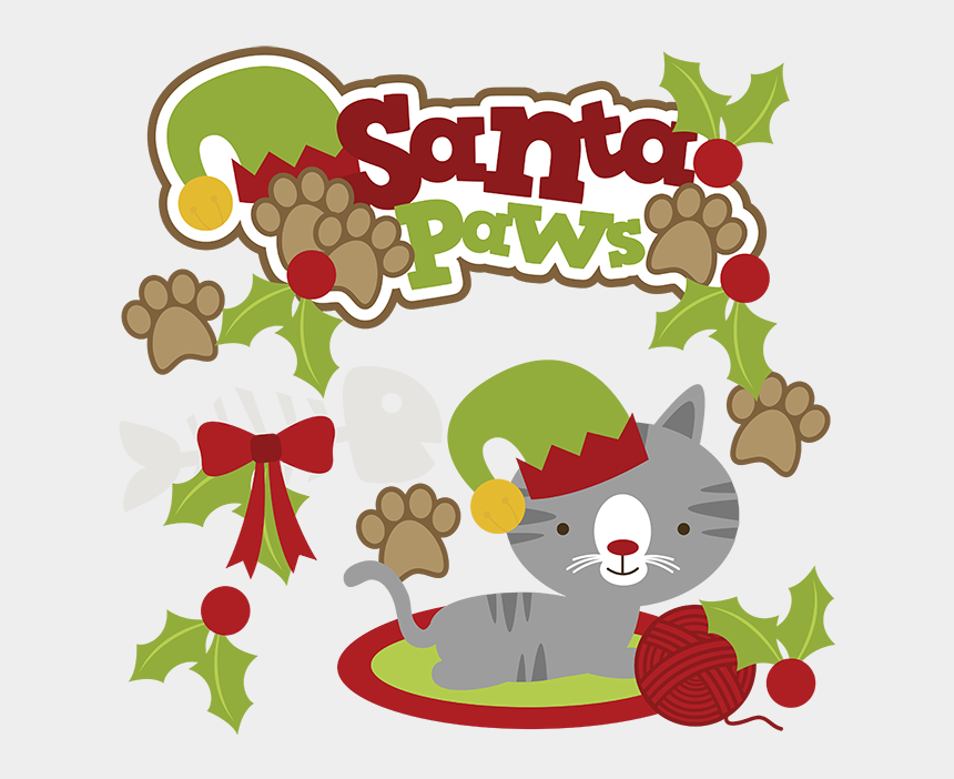 Cat christmas. Santa paws svg clipart