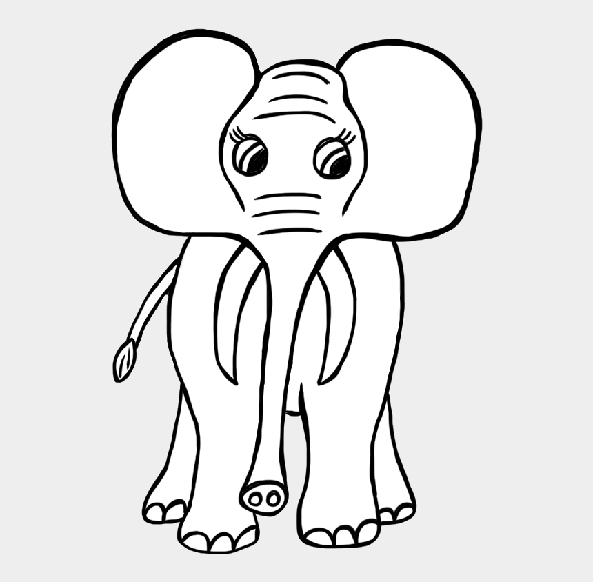 elephant clipart black and white, Cartoons - Elephant Clipart Wild Animal - Grassland Animals Easy To Draw