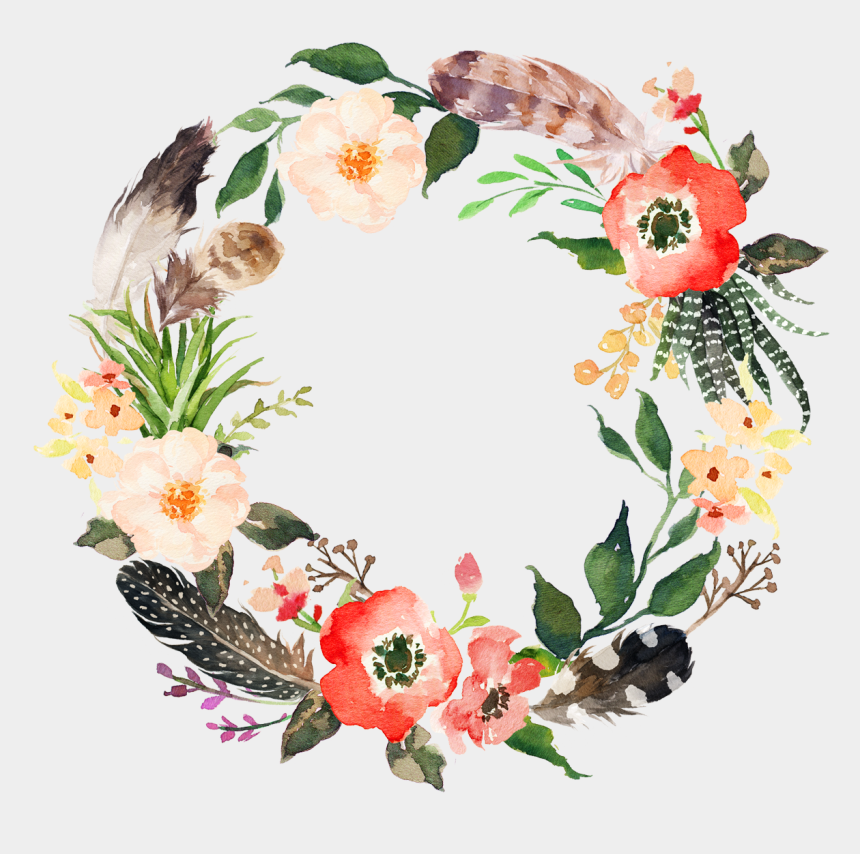 delicate clipart, Cartoons - Flower Wreath Watercolor Png