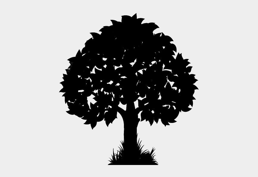 tree with leaves clipart black and white, Cartoons - Transparent Background Tree Clipart Transparent