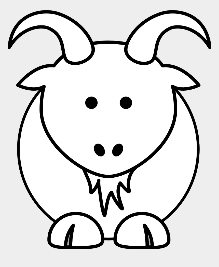 farm animal clip art black and white, Cartoons - Funny Goat Coloring Pages