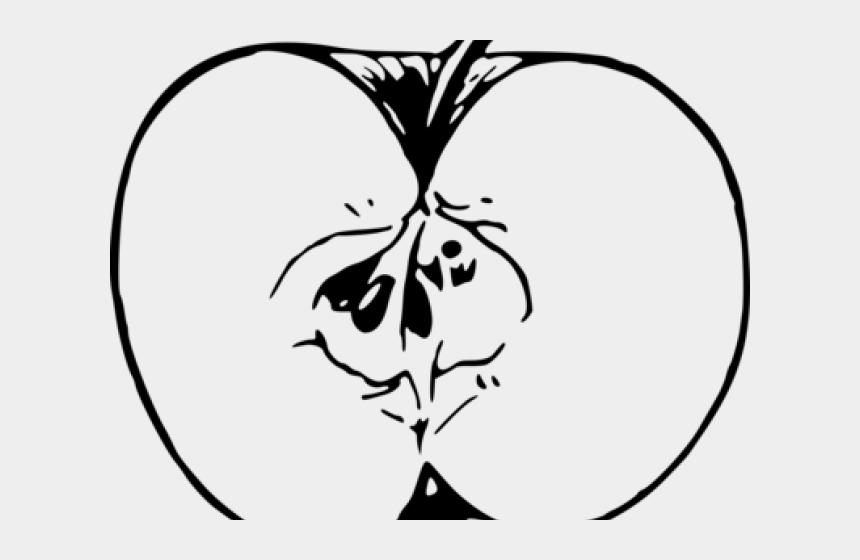 raspberries clipart black and white, Cartoons - Black And White Cut Apple Clipart