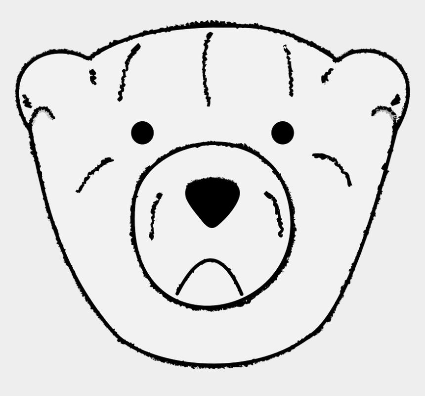 bear clipart black and white, Cartoons - Black Bear Clipart Sad - Sad Polar Bear Face