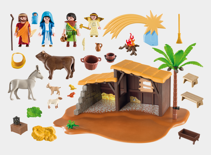 nativity scene clipart, Cartoons - Baby In A Manger Clipart - Playmobil Nativity Stable 5588