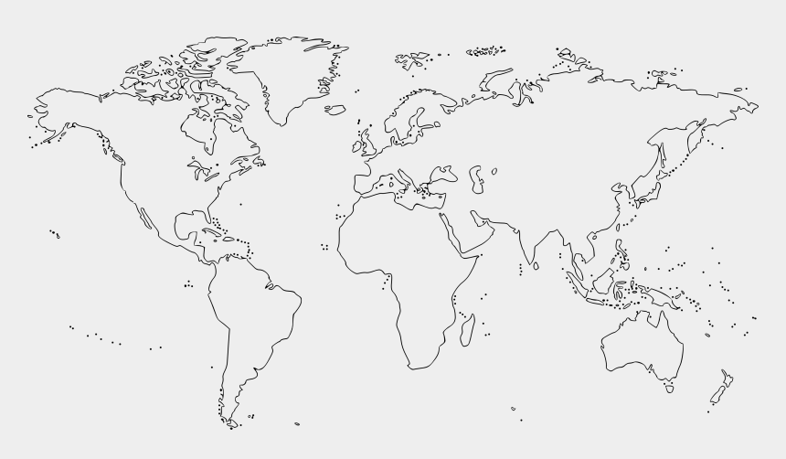 world map clipart, Cartoons - Map Clipart Black And White - Black And White World Map Outline