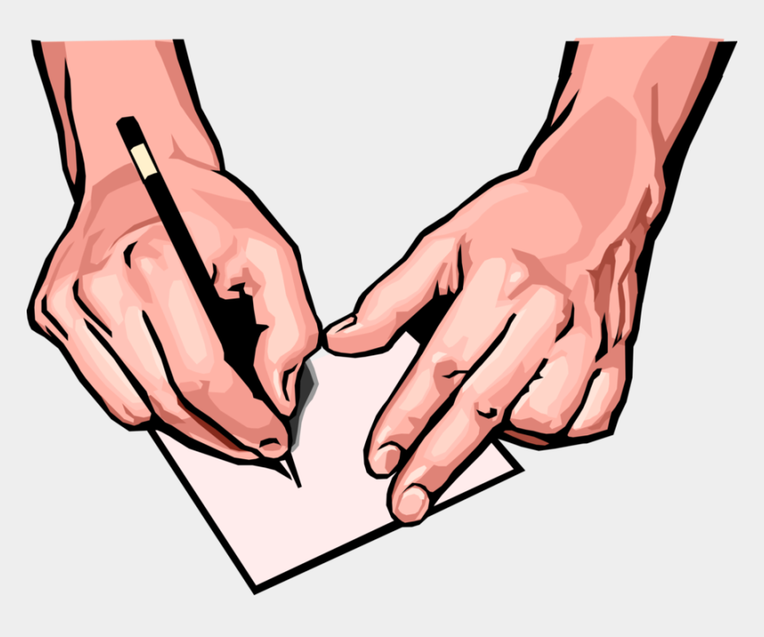 hand with pen clip art, Cartoons - Hands Writing On Paper