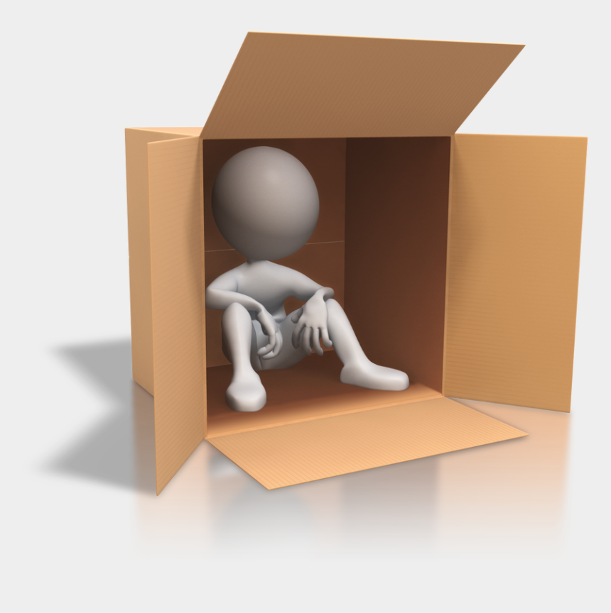 man thinking clipart 3d, Cartoons - Stick Figure In A Box