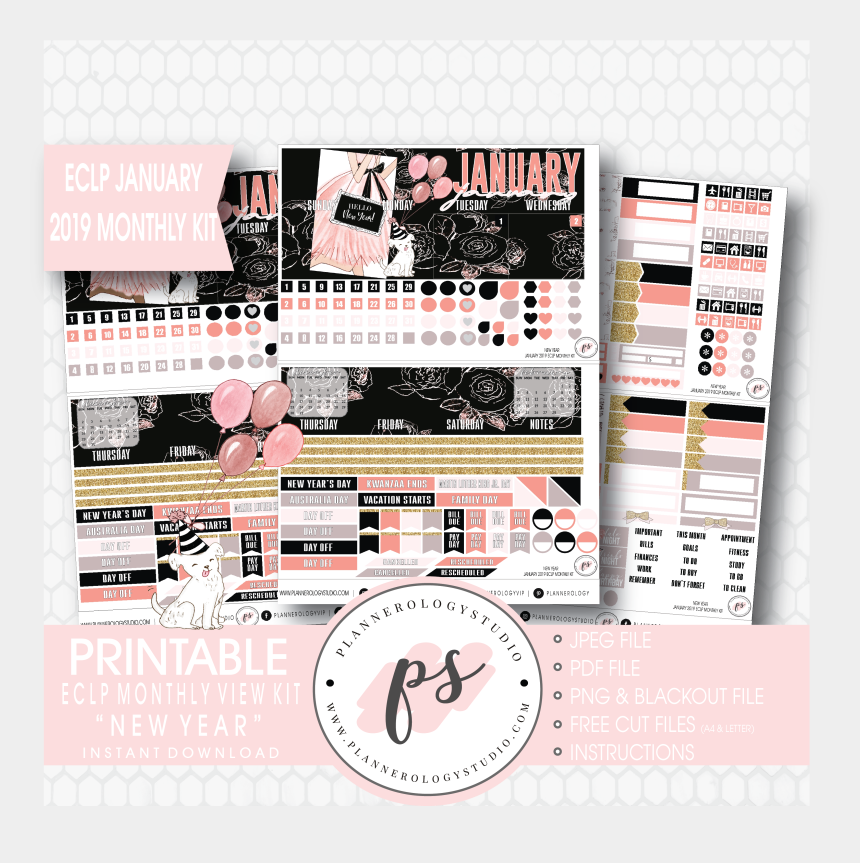 january 2019 clipart, Cartoons - Free Planner Printable Stickers 2019