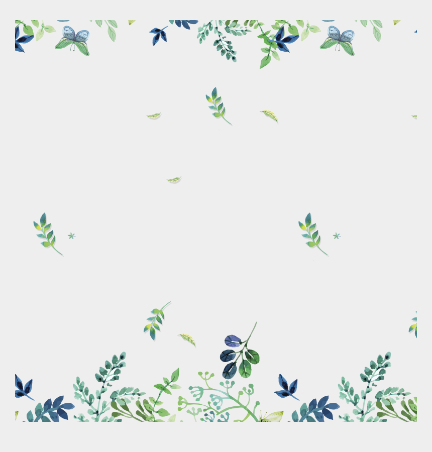 greenery border clipart, Cartoons - Watercolor Green Flower Background