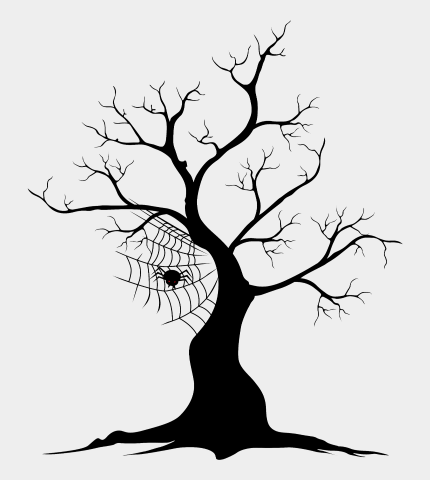 spooky tree black and white clipart, Cartoons - Halloween Black Tree Clipart Png
