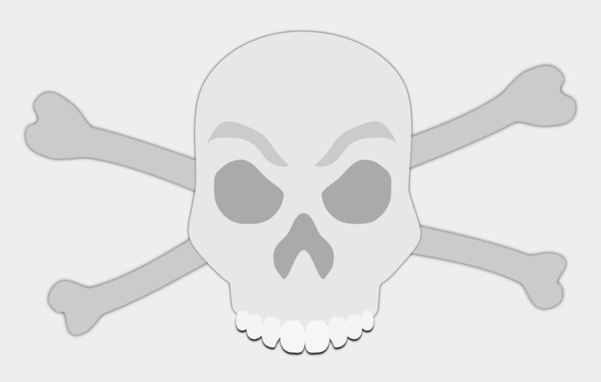 free skeleton head clipart, Cartoons - Grey Skull And Crossbones