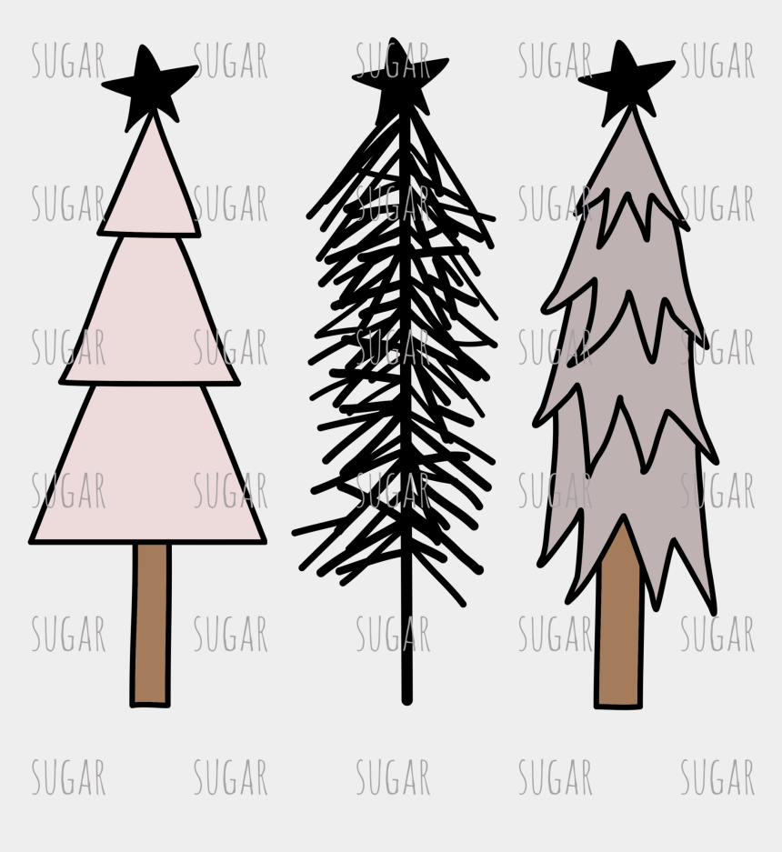 rustic tree line clipart, Cartoons - Rustic Christmas Tree Clipart