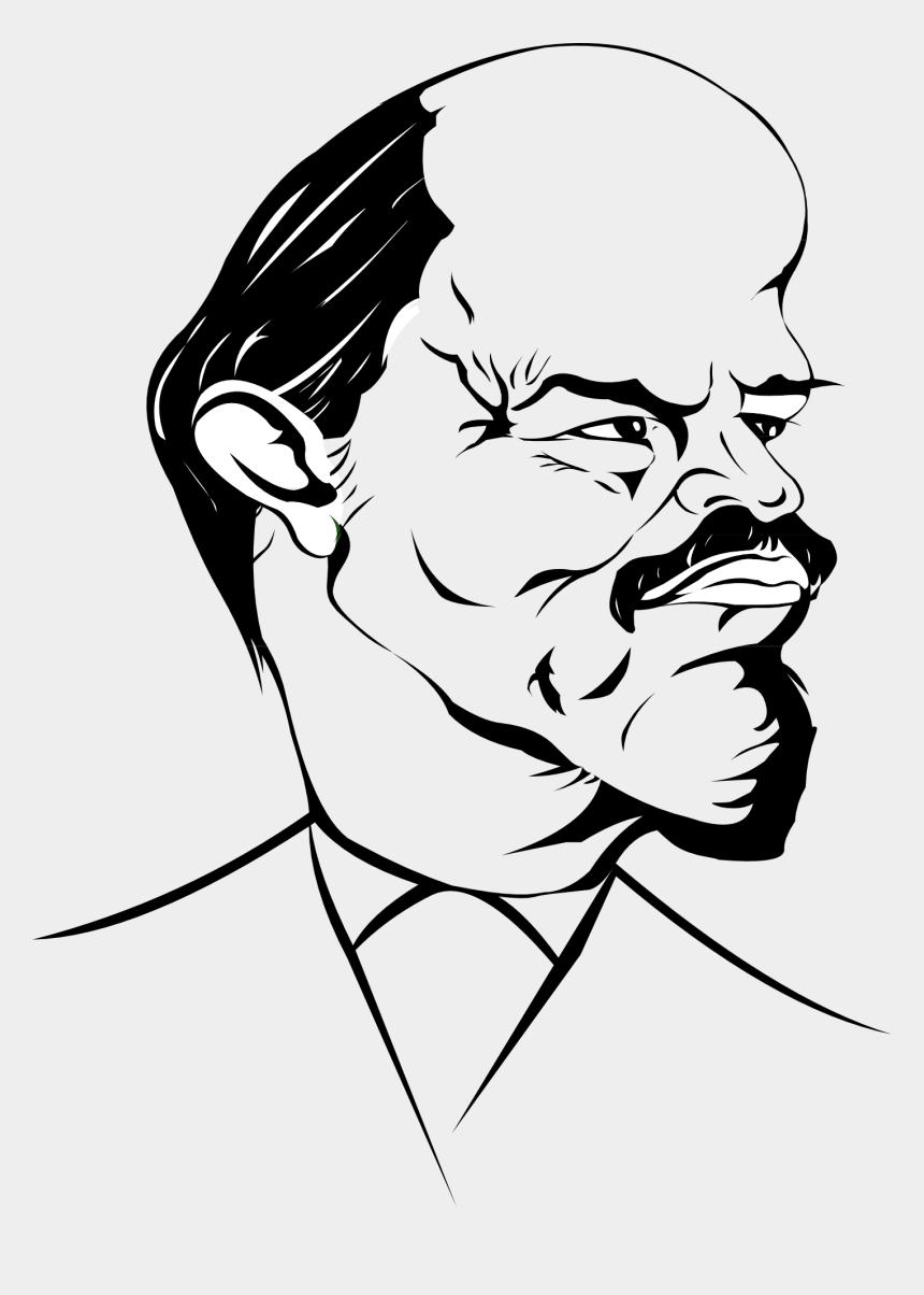 old man face outline clipart, Cartoons - Lenin Caricature