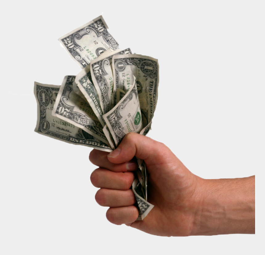 raining dollars clip art, Cartoons - Hand With Money Png