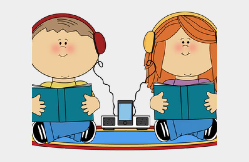 listening clipart, Cartoons - Headphones Clipart Listening Center - Audio Books Kids